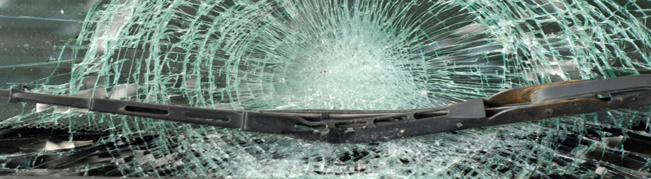 broken windshield from an auto accident