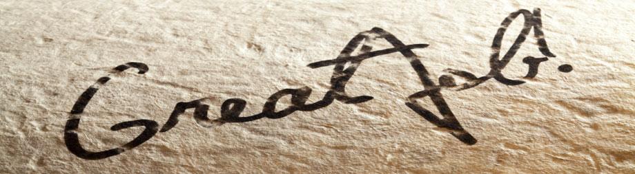 Close up of a signature